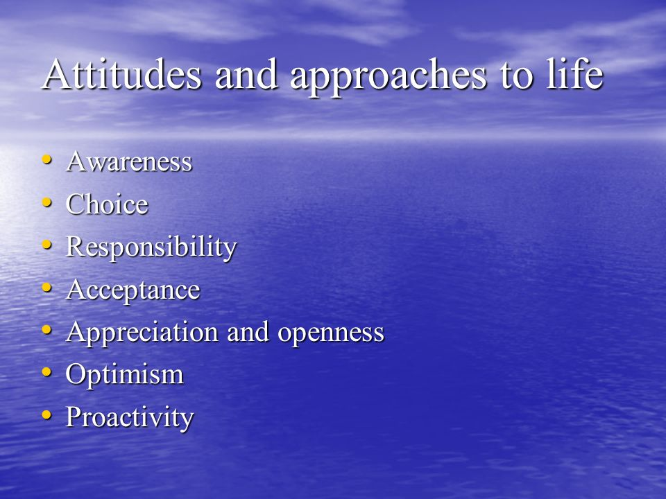 Attitudes and approaches to life Awareness Awareness Choice Choice Responsibility Responsibility Acceptance Acceptance Appreciation and openness Appreciation and openness Optimism Optimism Proactivity Proactivity