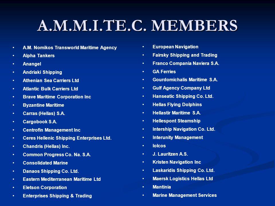 A.M.M.I.TE.C. MEMBERS A.M. Nomikos Transworld Maritime Agency Alpha Tankers Anangel Andriaki Shipping Athenian Sea Carriers Ltd Atlantic Bulk Carriers
