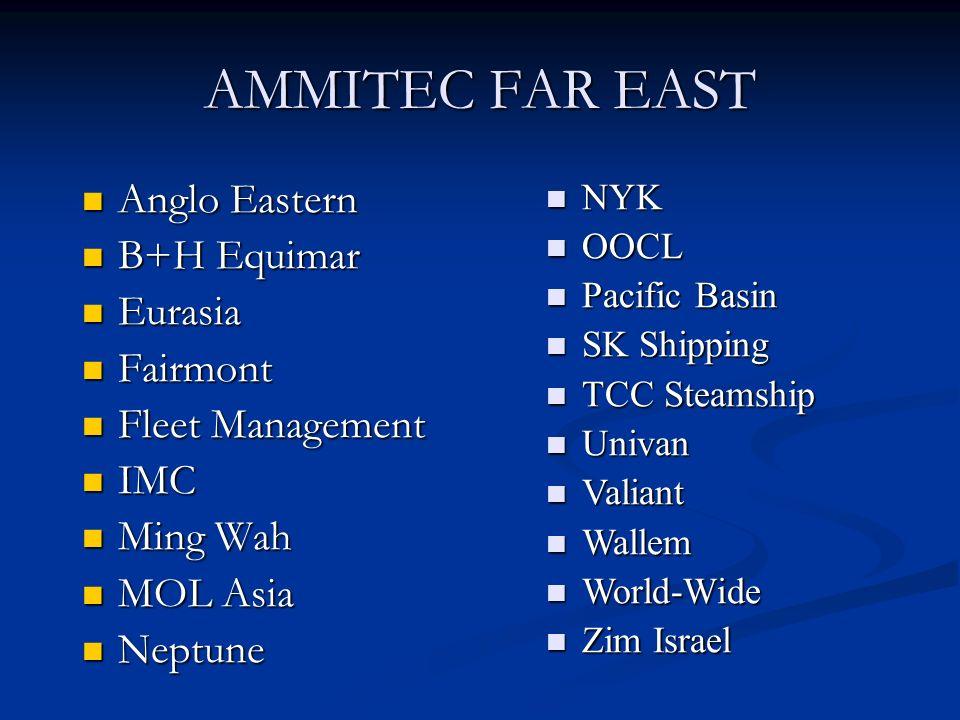 AMMITEC FAR EAST Anglo Eastern Anglo Eastern B+H Equimar B+H Equimar Eurasia Eurasia Fairmont Fairmont Fleet Management Fleet Management IMC IMC Ming