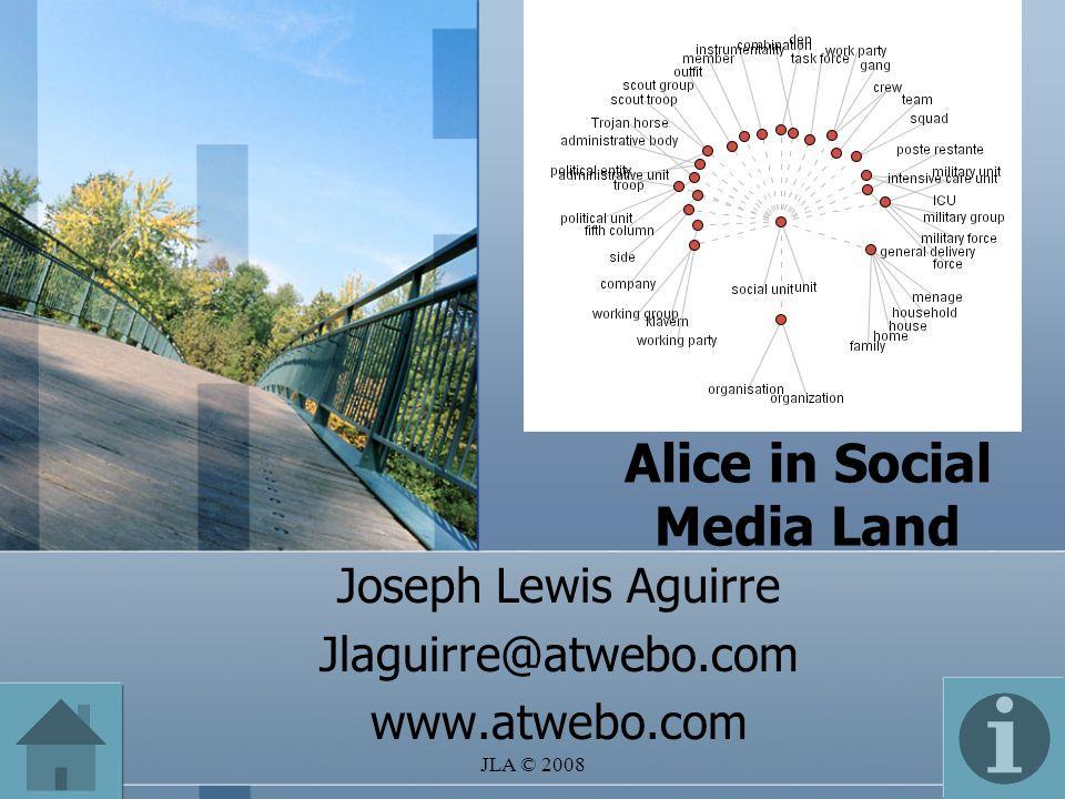 JLA © 2008 Alice in Social Media Land Joseph Lewis Aguirre Jlaguirre@atwebo.com www.atwebo.com