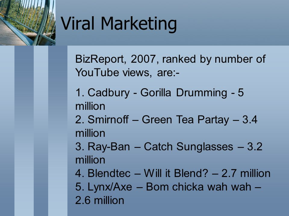 BizReport, 2007, ranked by number of YouTube views, are:- 1.