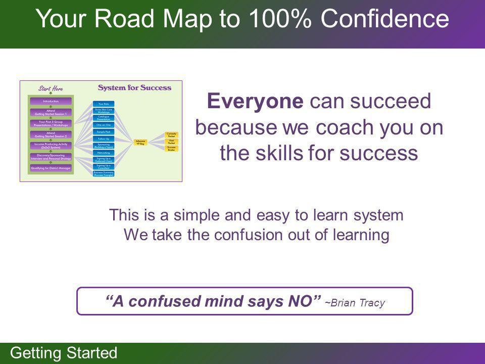 GETTING STARTED Your Road Map to 100% Confidence Everyone can succeed because we coach you on the skills for success A confused mind says NO ~Brian Tr