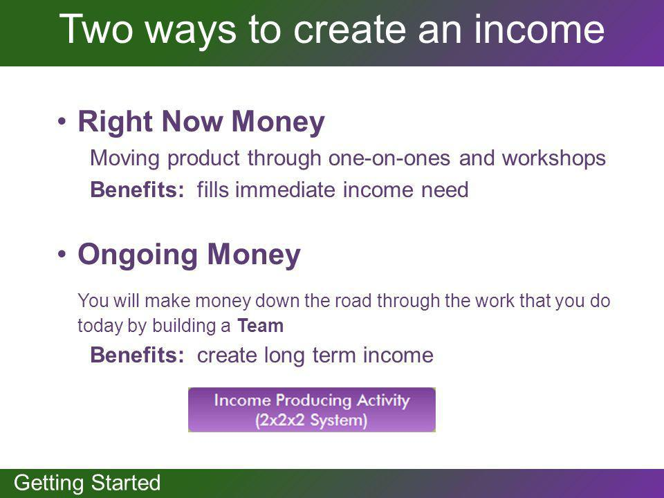 GETTING STARTED Getting Started Two ways to create an income Right Now Money Moving product through one-on-ones and workshops Benefits: fills immediat