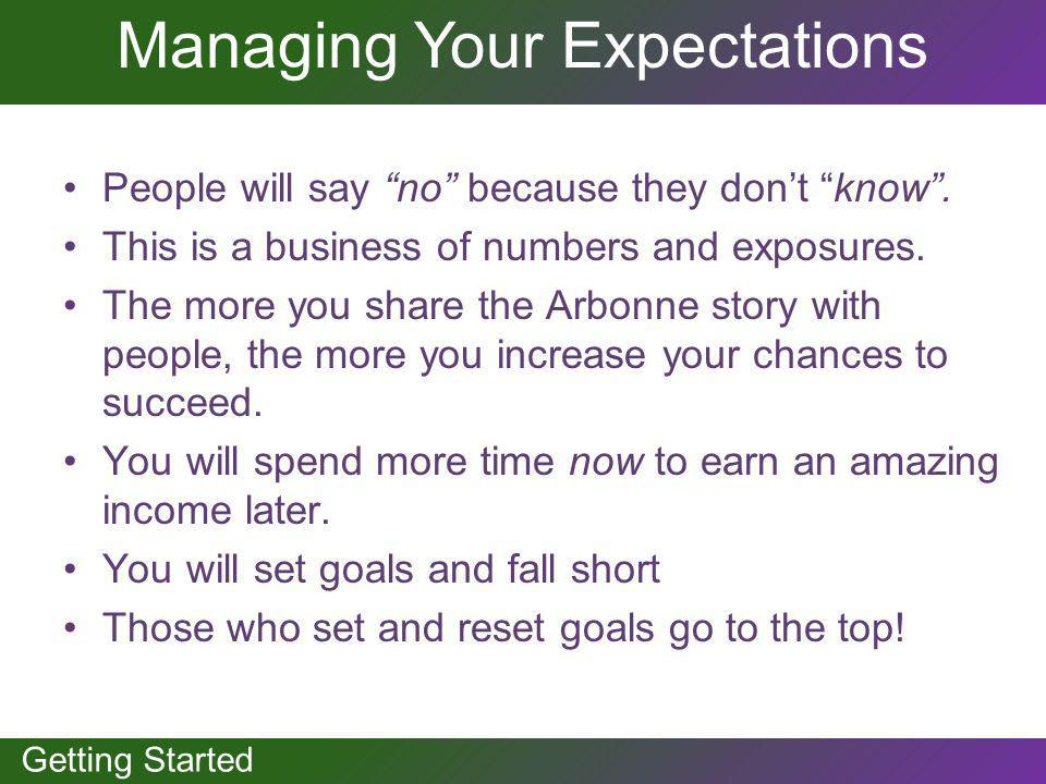 GETTING STARTED Getting Started Managing Your Expectations People will say no because they dont know. This is a business of numbers and exposures. The