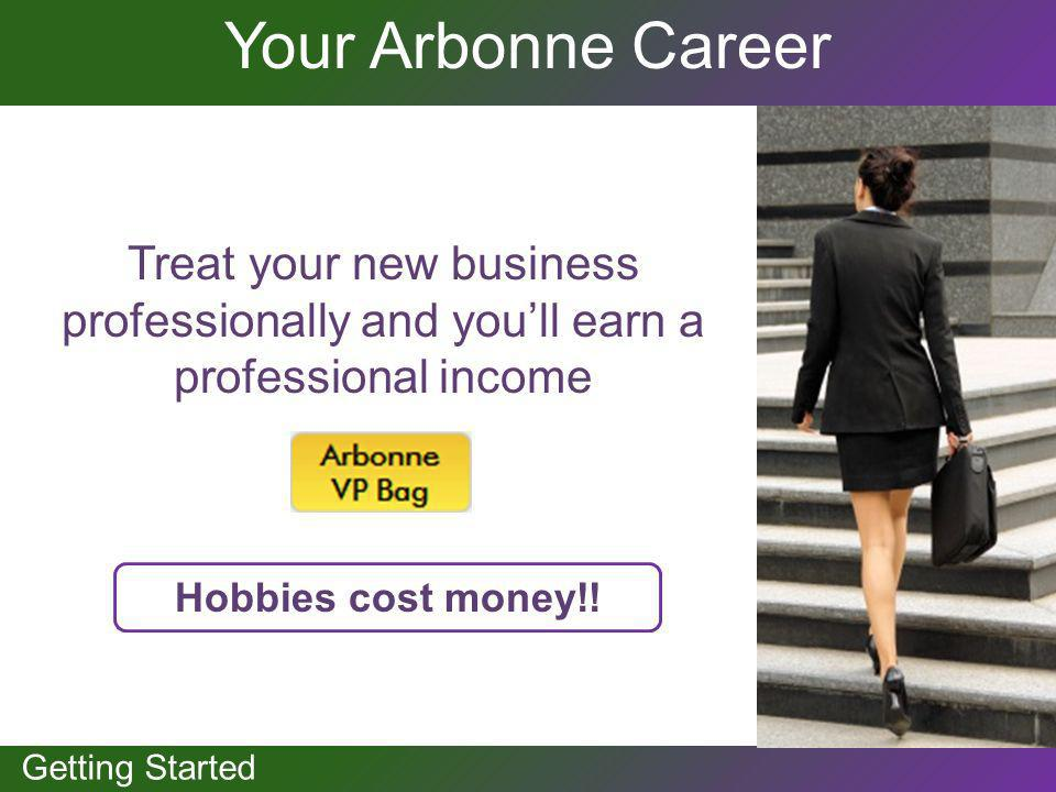 GETTING STARTED Getting Started Your Arbonne Career Treat your new business professionally and youll earn a professional income Hobbies cost money!!