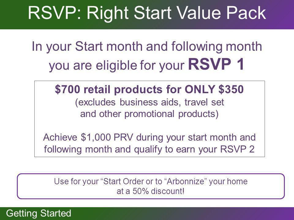 GETTING STARTED Getting Started RSVP: Right Start Value Pack In your Start month and following month you are eligible for your RSVP 1 $700 retail prod