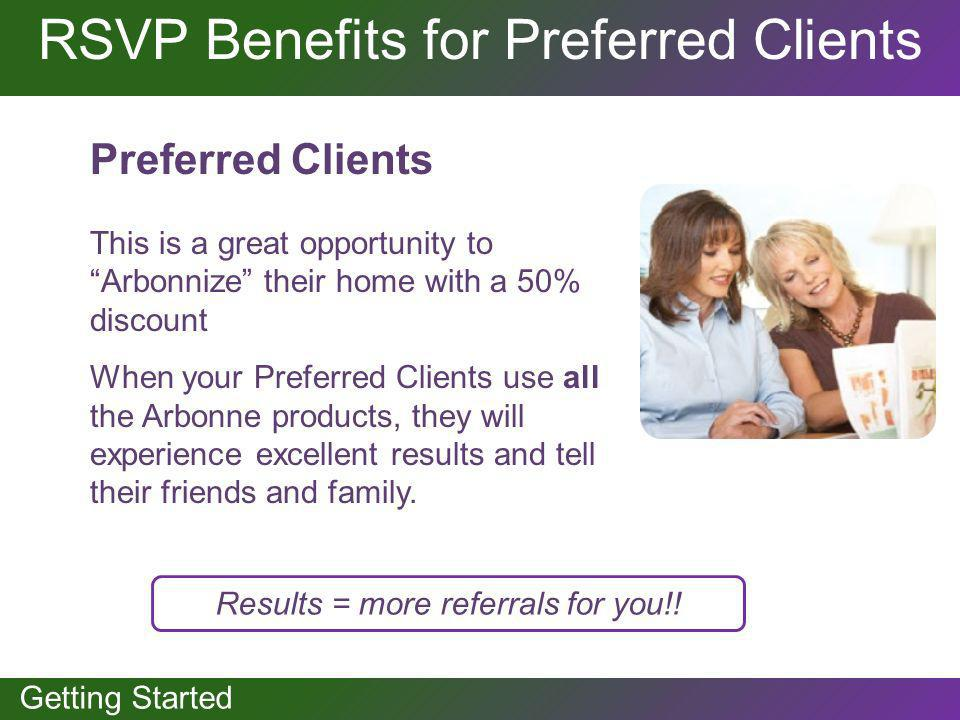 GETTING STARTED Getting Started RSVP Benefits for Preferred Clients Preferred Clients This is a great opportunity to Arbonnize their home with a 50% d