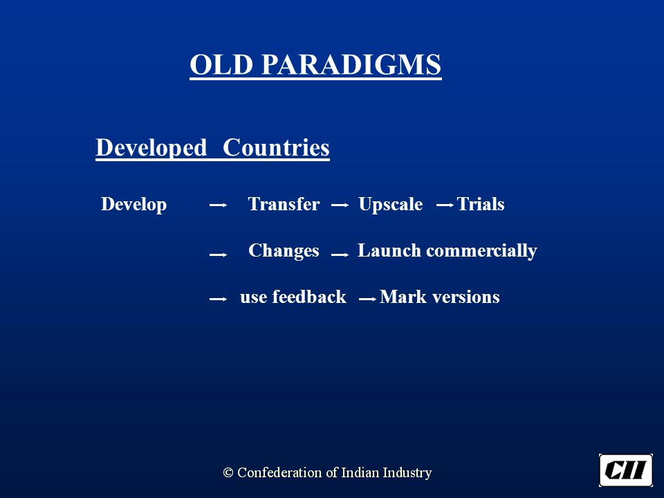 OLD PARADIGMS Developed Countries Develop Transfer Upscale Trials Changes Launch commercially use feedback Mark versions
