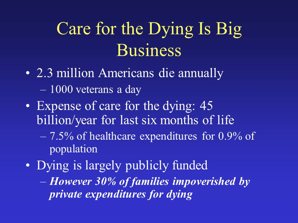 Care for the Dying Is Big Business 2.3 million Americans die annually –1000 veterans a day Expense of care for the dying: 45 billion/year for last six months of life –7.5% of healthcare expenditures for 0.9% of population Dying is largely publicly funded –However 30% of families impoverished by private expenditures for dying