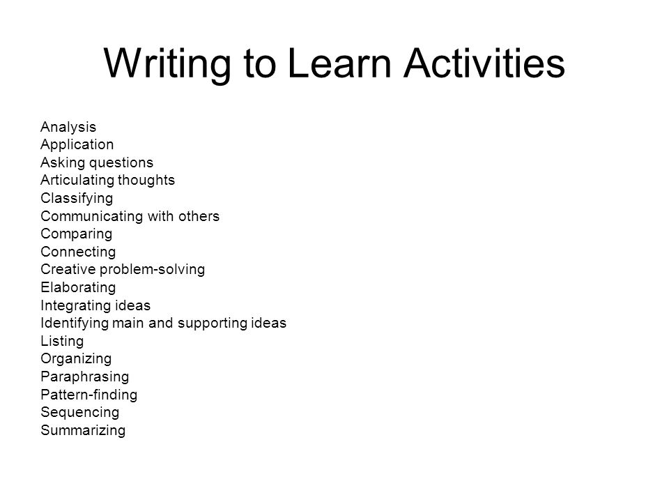 Writing to Learn Activities Analysis Application Asking questions Articulating thoughts Classifying Communicating with others Comparing Connecting Creative problem-solving Elaborating Integrating ideas Identifying main and supporting ideas Listing Organizing Paraphrasing Pattern-finding Sequencing Summarizing