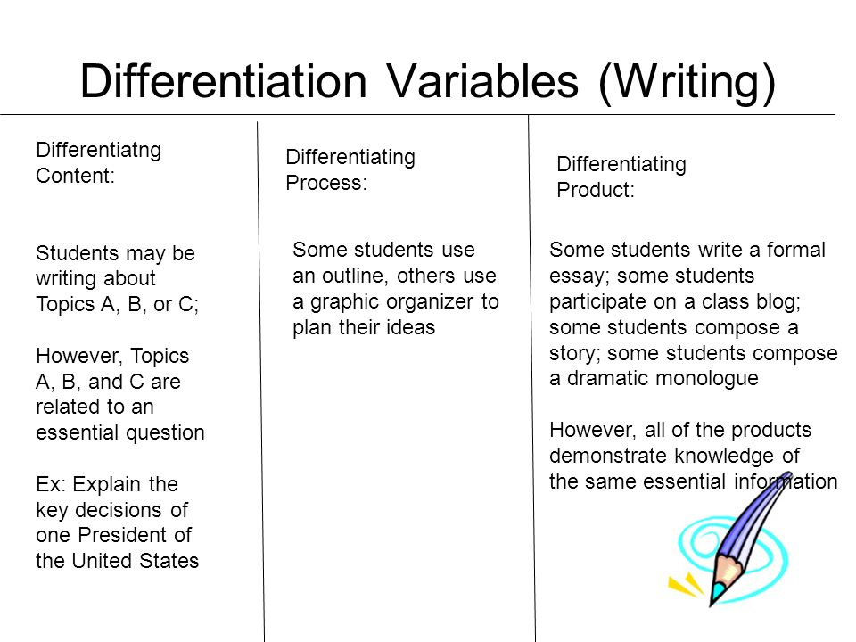 Differentiation Variables (Writing) Differentiatng Content: Students may be writing about Topics A, B, or C; However, Topics A, B, and C are related t