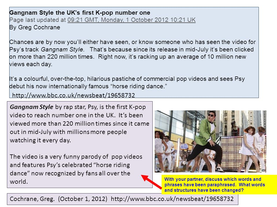 Gangnam Style the UK s first K-pop number one Page last updated at 09:21 GMT, Monday, 1 October 2012 10:21 UK By Greg Cochrane Chances are by now youll either have seen, or know someone who has seen the video for Psys track Gangnam Style.