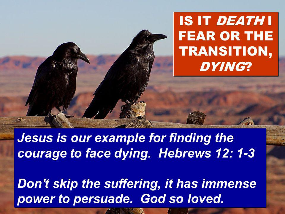 IS IT DEATH I FEAR OR THE TRANSITION, DYING? Jesus is our example for finding the courage to face dying. Hebrews 12: 1-3 Don't skip the suffering, it
