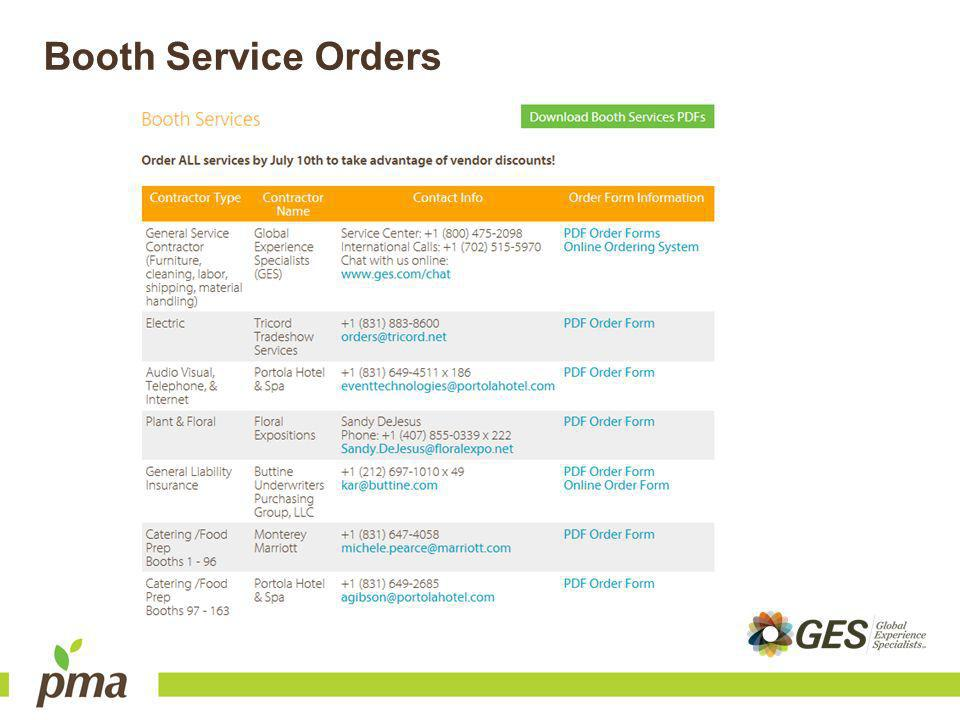 Booth Service Orders
