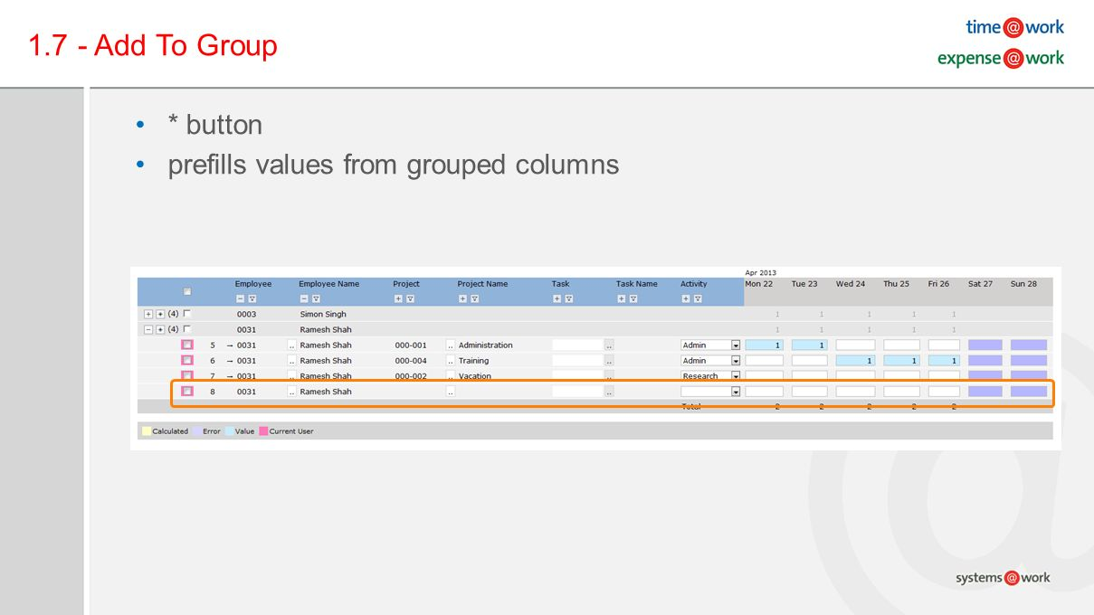 1.7 - Add To Group * button prefills values from grouped columns