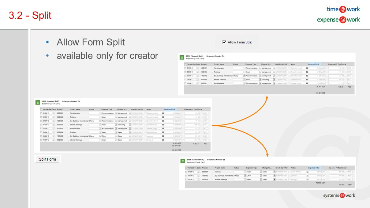 3.2 - Split Allow Form Split available only for creator