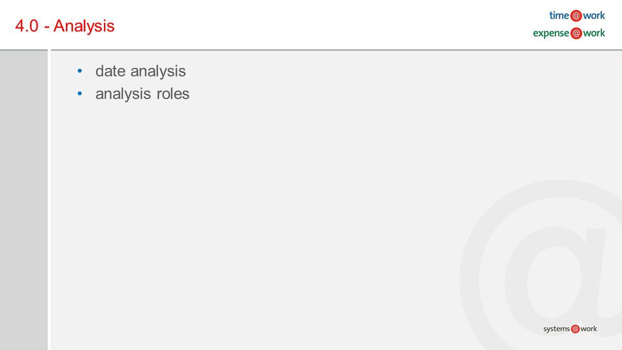 4.0 - Analysis date analysis analysis roles