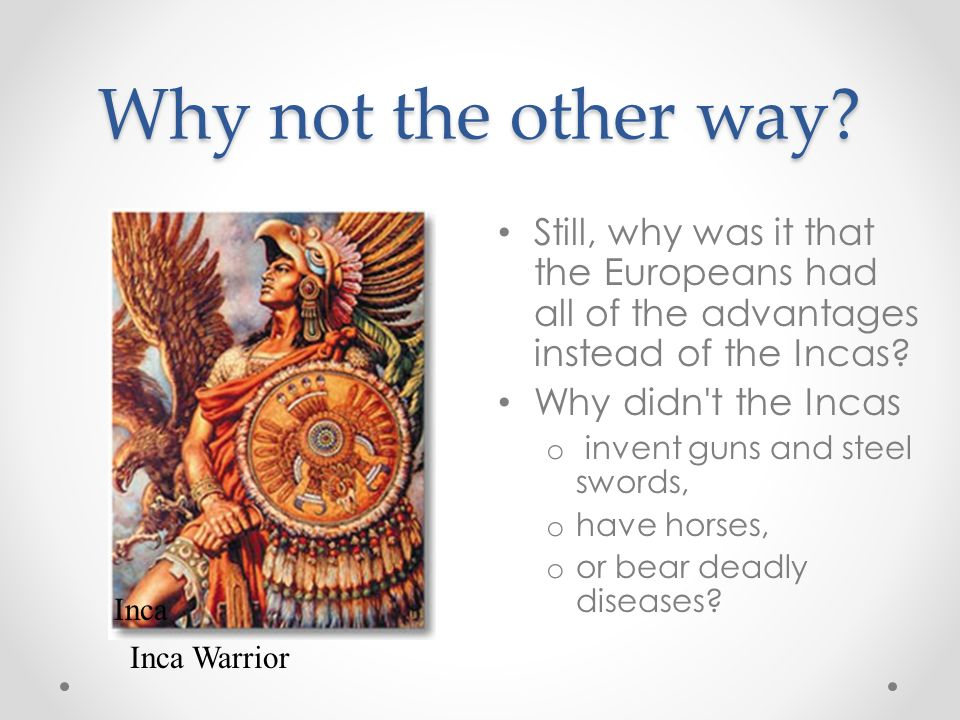 Why not the other way? Still, why was it that the Europeans had all of the advantages instead of the Incas? Why didn't the Incas o invent guns and ste