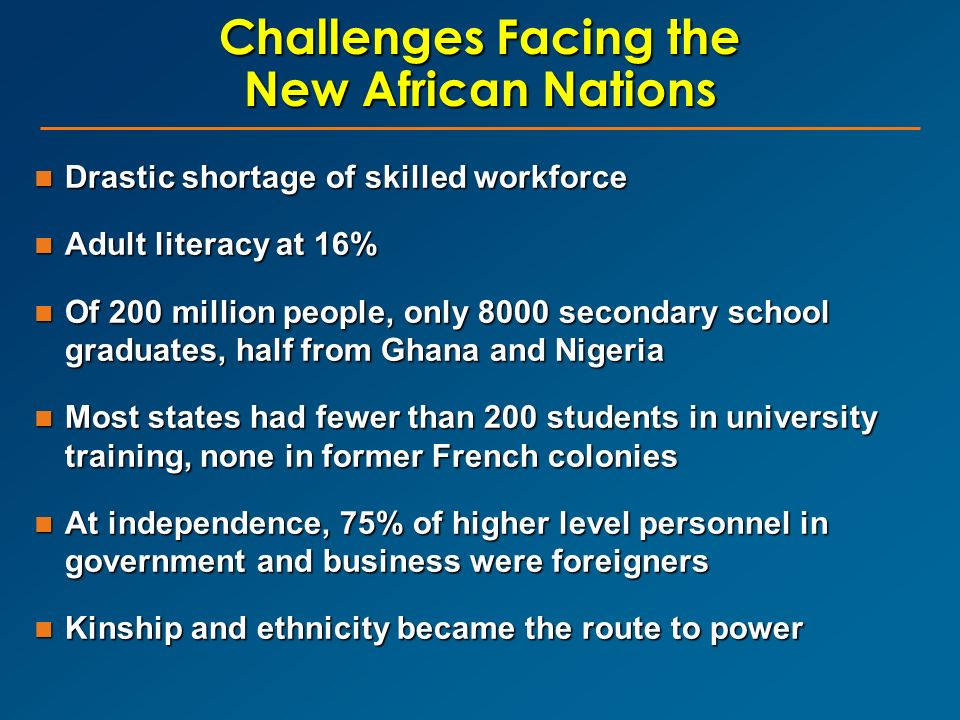 Challenges Facing the New African Nations Drastic shortage of skilled workforce Drastic shortage of skilled workforce Adult literacy at 16% Adult lite