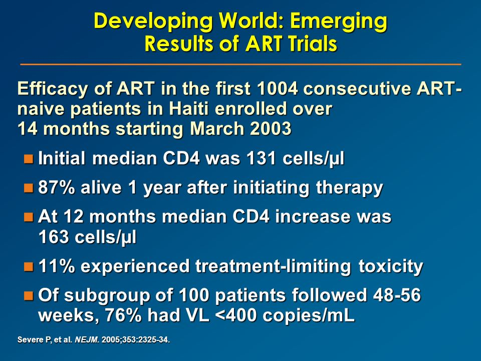 Developing World: Emerging Results of ART Trials Efficacy of ART in the first 1004 consecutive ART- naive patients in Haiti enrolled over 14 months st