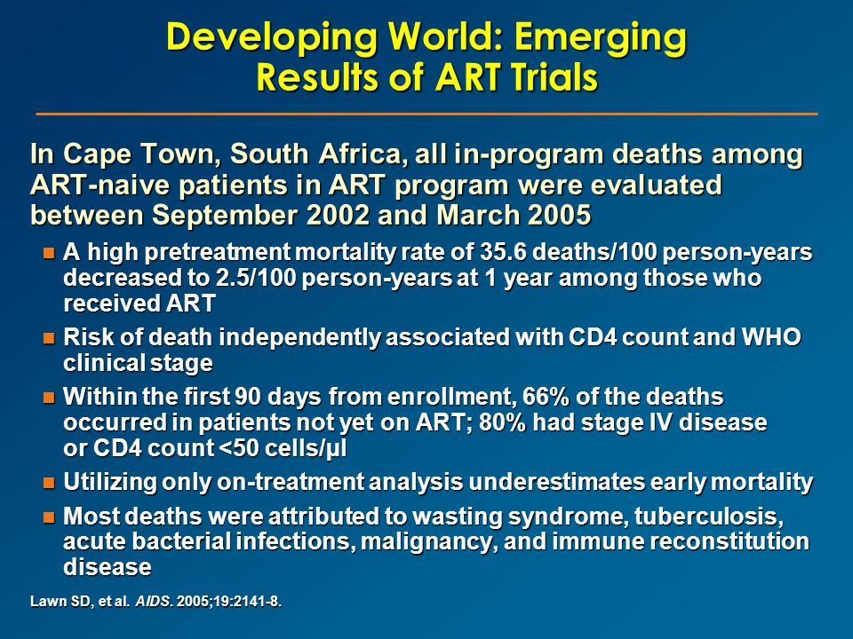 Developing World: Emerging Results of ART Trials In Cape Town, South Africa, all in-program deaths among ART-naive patients in ART program were evalua