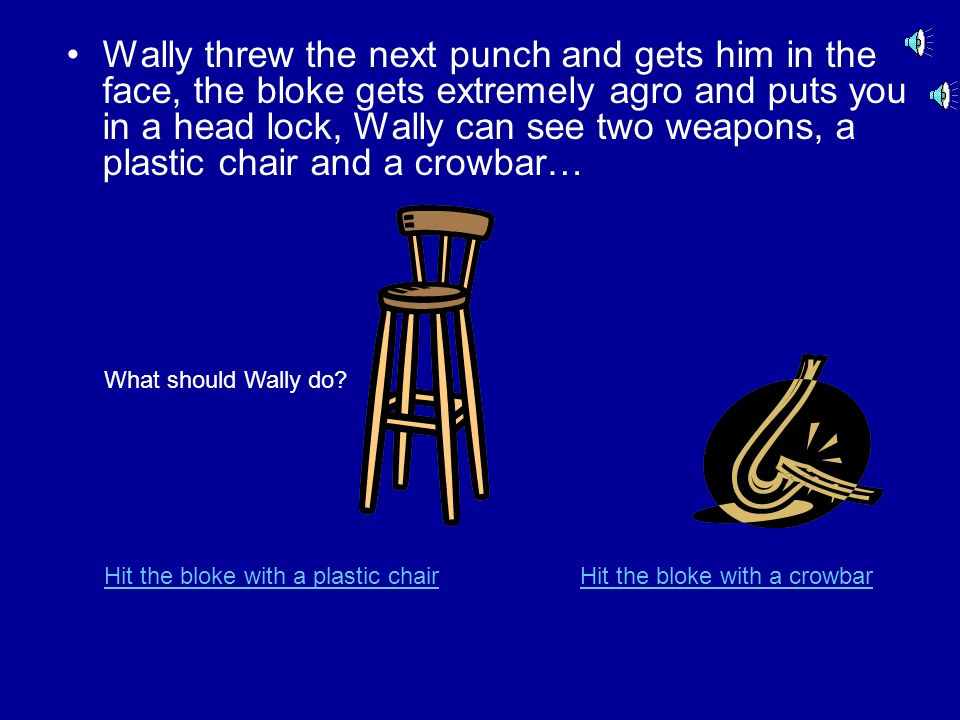 Wally insults the bloke. The bloke gets agro and throws a punch, but misses… What should Wally do? Throw a punch Tell the bloke to calm down and wait