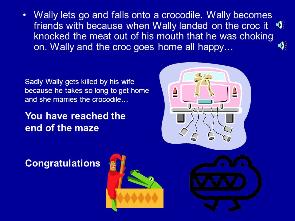 Wally grabs onto the eagle. What should Wally do? Let go and fall onto a crocodile Pull out the eagles feathers and fly on your own