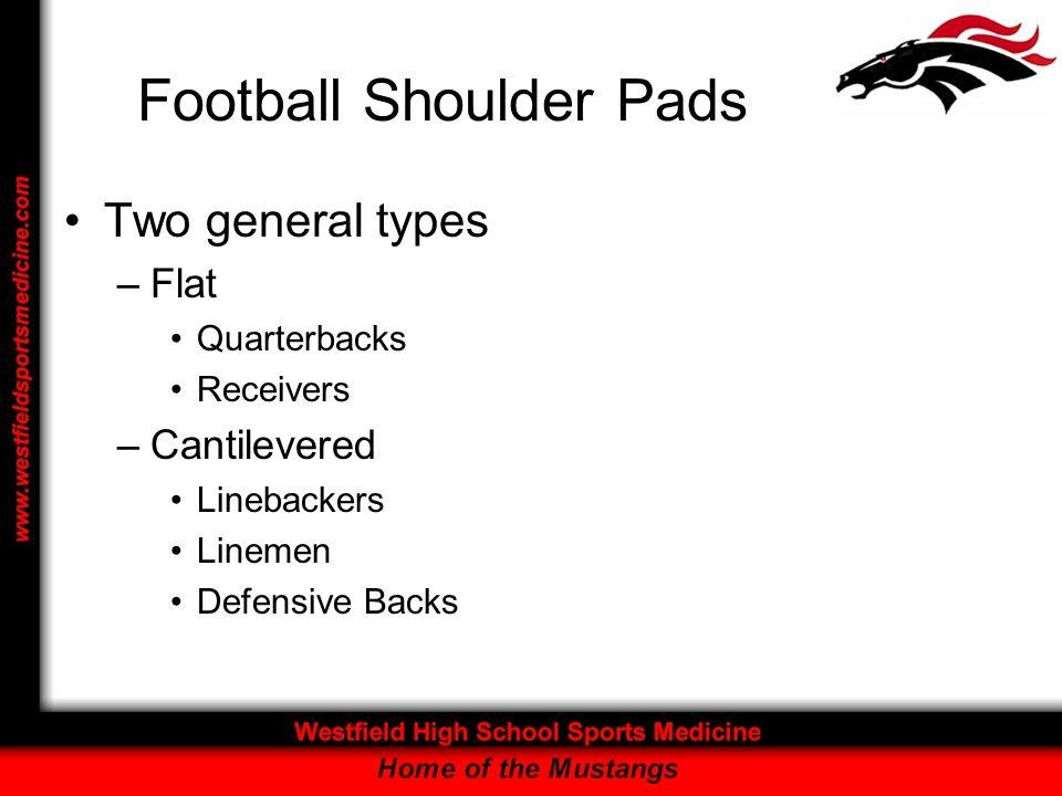 Football Shoulder Pads Two general types –Flat Quarterbacks Receivers –Cantilevered Linebackers Linemen Defensive Backs