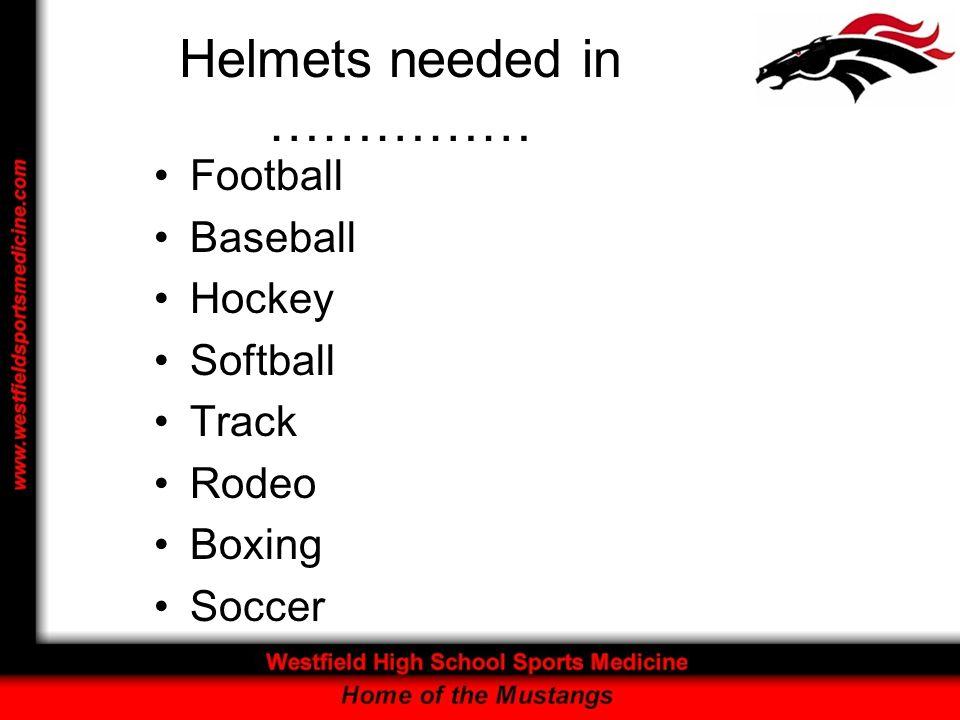 Helmets needed in …………… Football Baseball Hockey Softball Track Rodeo Boxing Soccer