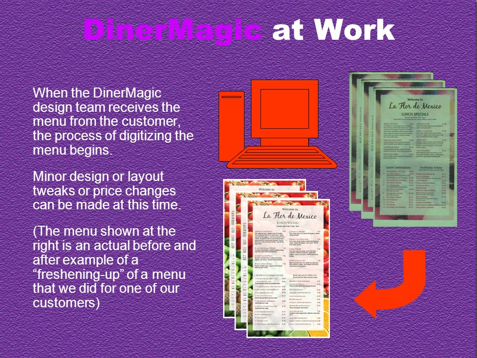 DinerMagic at Work This takes us to our Home Page Editor.