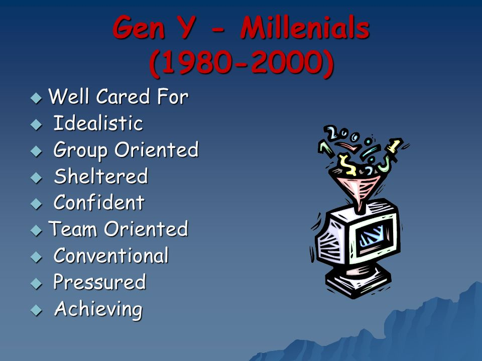 Gen Y - Millenials (1980-2000) Well Cared For Well Cared For Idealistic Idealistic Group Oriented Group Oriented Sheltered Sheltered Confident Confide