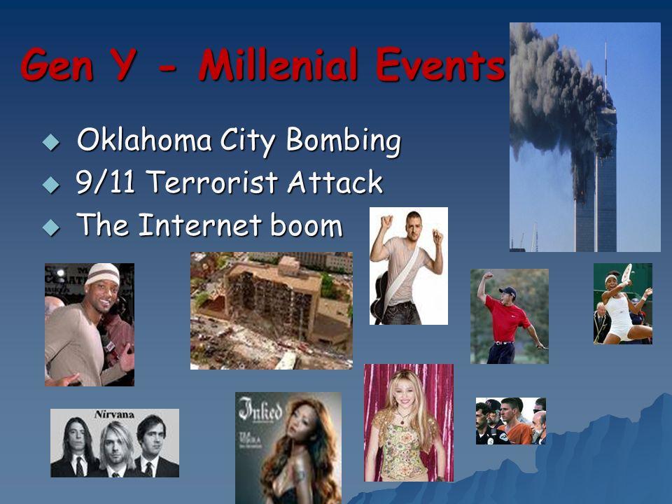 Gen Y - Millenial Events Oklahoma City Bombing Oklahoma City Bombing 9/11 Terrorist Attack 9/11 Terrorist Attack The Internet boom The Internet boom