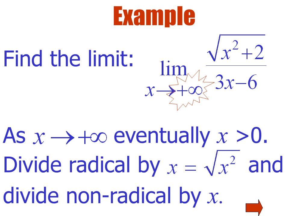 Example Functions may approach different asymptotes as and as Consider each limit separately…