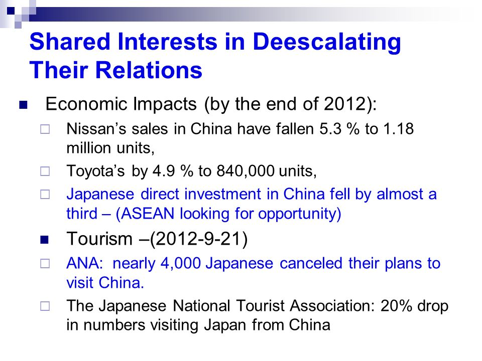 Shared Interests in Deescalating Their Relations Economic Impacts (by the end of 2012): Nissans sales in China have fallen 5.3 % to 1.18 million units