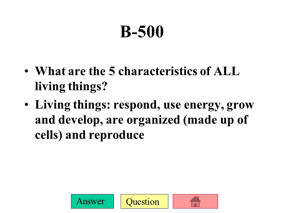 Question Answer B-400 Where does all energy come from for living things The Sun