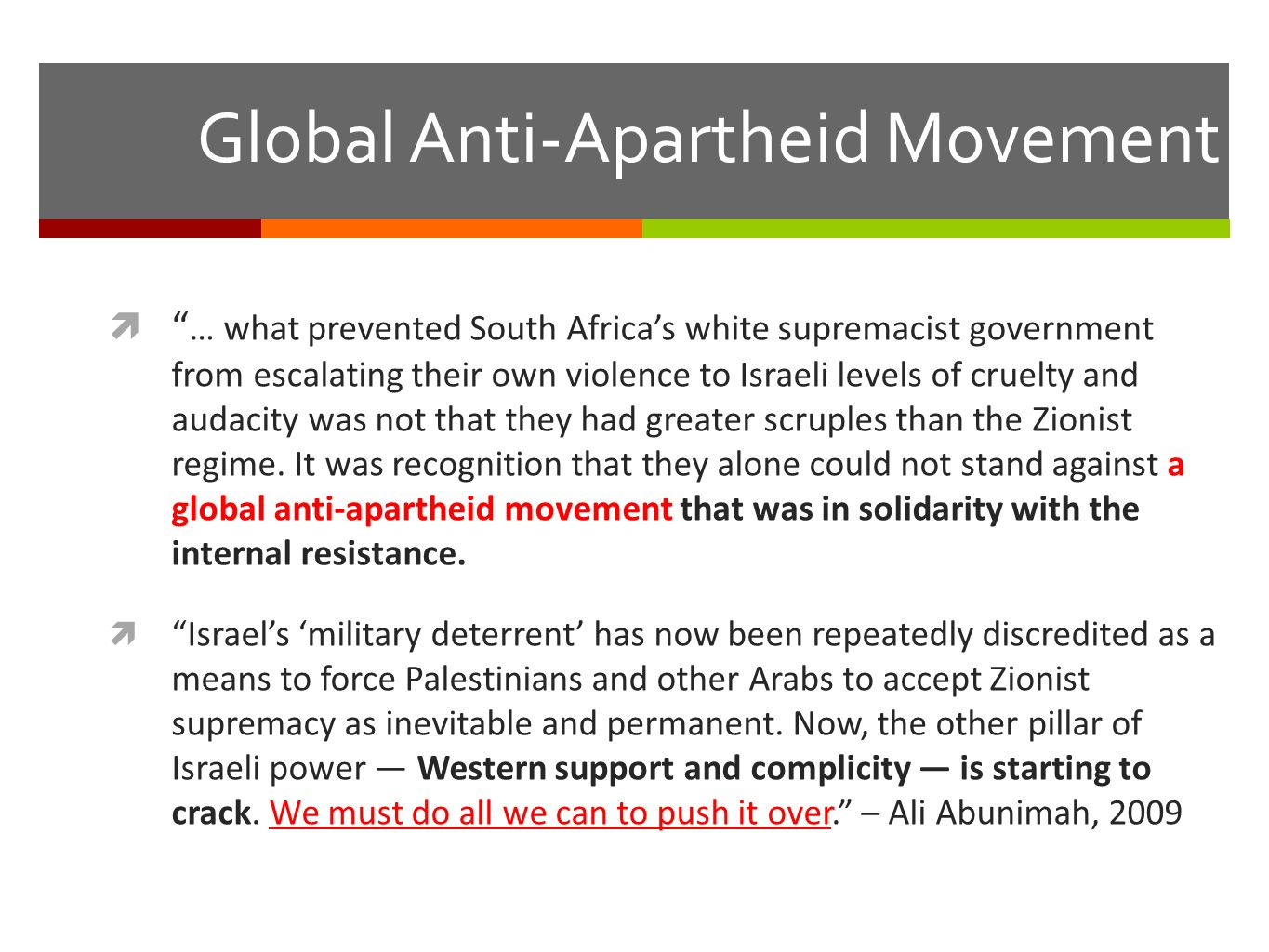 Similarities in struggle against apartheid: South Africa and Palestine