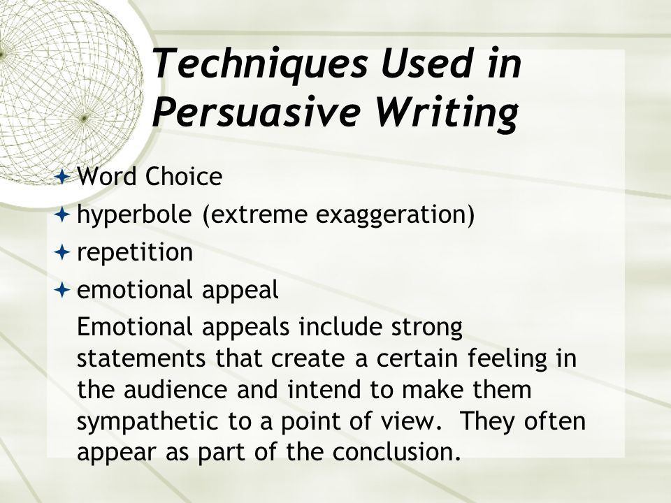 Organization of a Persuasive Argument states a viewpoint (the controlling idea) provides supporting arguments, or gives reasons in the form of facts a