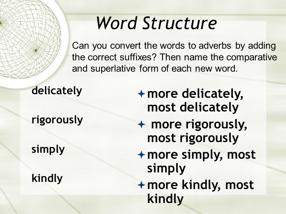 Word Structure delicate rigorous simple kind more delicate, most delicate more rigorous most rigorous simpler, simplest kinder, kindest What is the co
