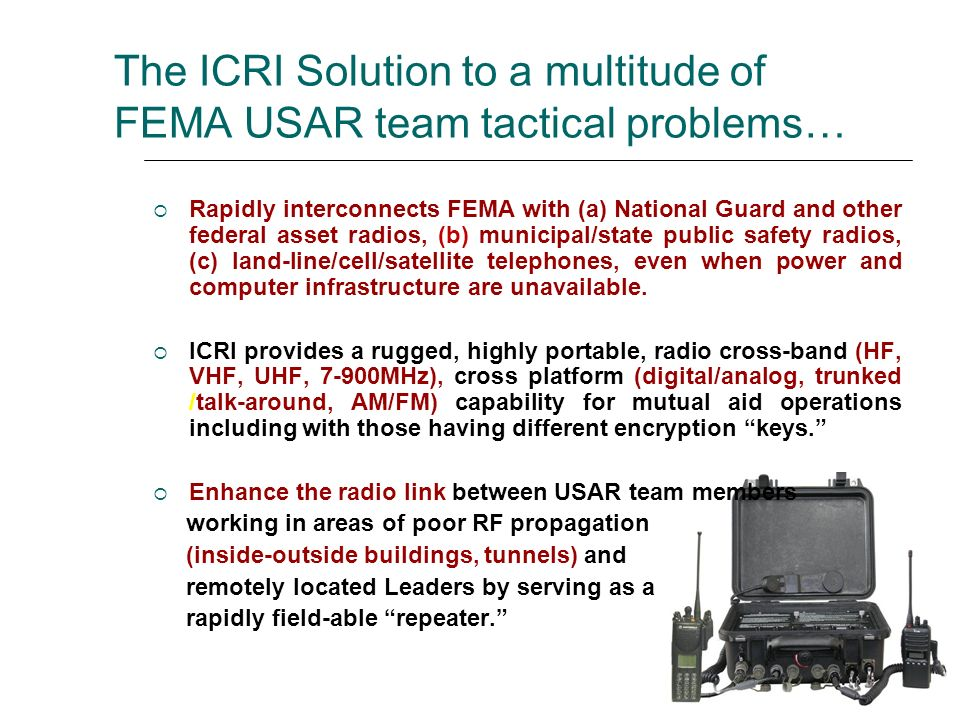 The Equipment (Patented) Small, rugged package/circuitry Highly portable Rapidly deployable (under 5 minutes) Multiple radio interconnect without adding technical complexity Minimal operator training Wide range of power sources (including AA batteries) Low cost in equipment, allocated manpower, sustainment requirements A component of the multiple USAR and all WMD-CST ADVON caches since 2002