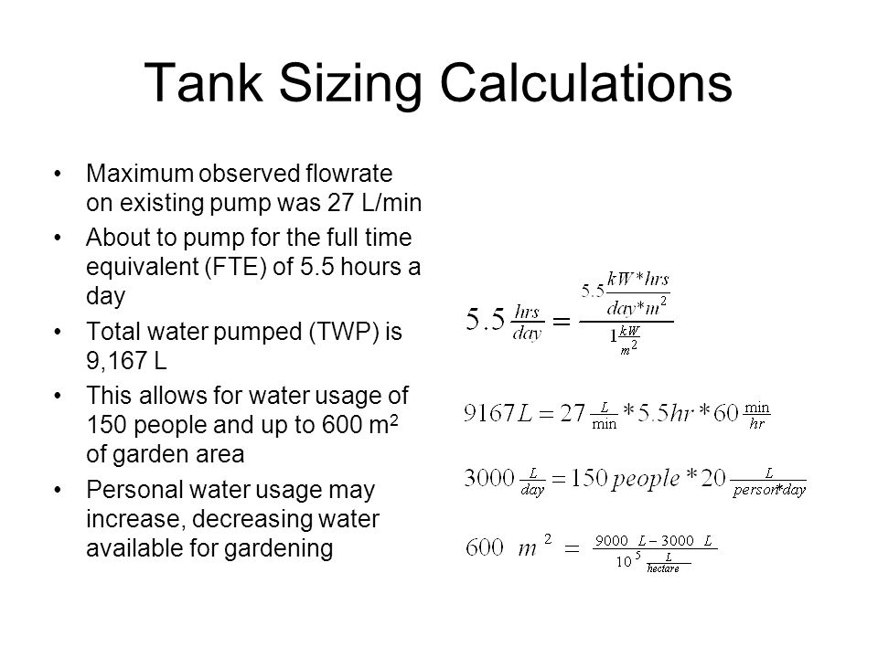 Tank Sizing Calculations Maximum observed flowrate on existing pump was 27 L/min About to pump for the full time equivalent (FTE) of 5.5 hours a day Total water pumped (TWP) is 9,167 L This allows for water usage of 150 people and up to 600 m 2 of garden area Personal water usage may increase, decreasing water available for gardening