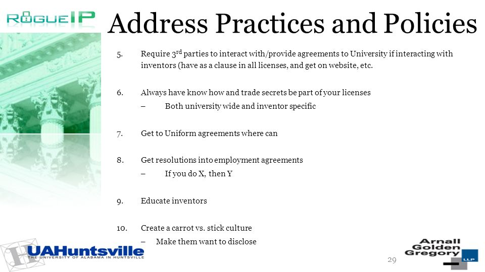 Address Practices and Policies 5.Require 3 rd parties to interact with/provide agreements to University if interacting with inventors (have as a claus