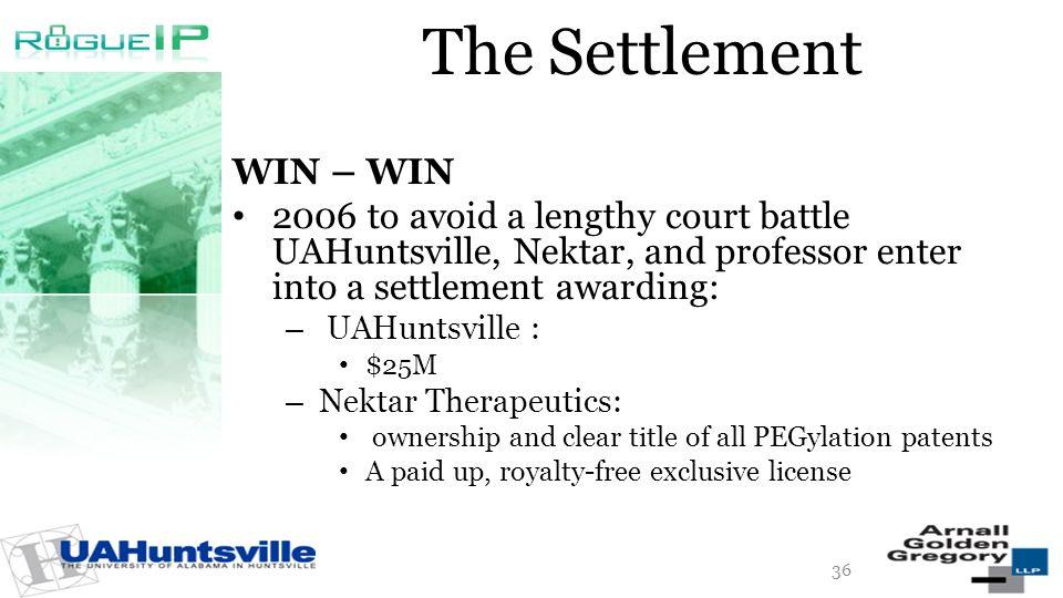 The Settlement WIN – WIN 2006 to avoid a lengthy court battle UAHuntsville, Nektar, and professor enter into a settlement awarding: – UAHuntsville : $