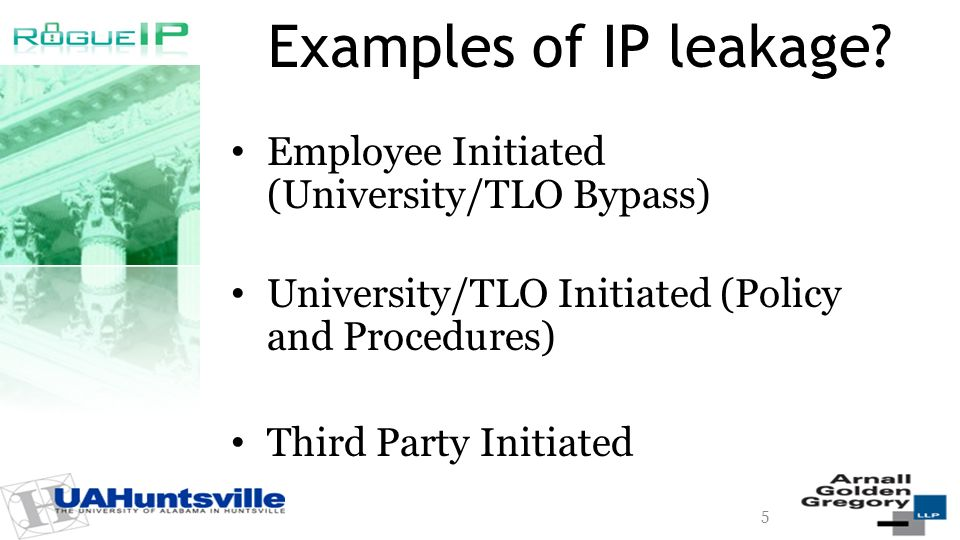 Examples of IP leakage? Employee Initiated (University/TLO Bypass) University/TLO Initiated (Policy and Procedures) Third Party Initiated 5