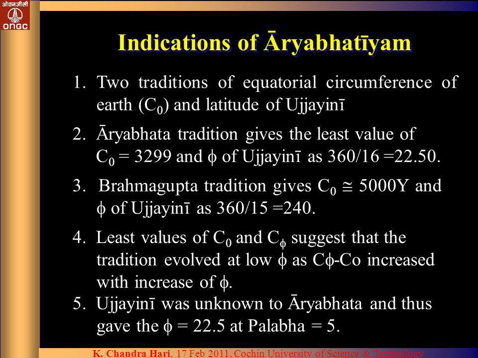 Indications of Āryabhatīyam 1.Two traditions of equatorial circumference of earth (C 0 ) and latitude of Ujjayinī 2. Āryabhata tradition gives the lea
