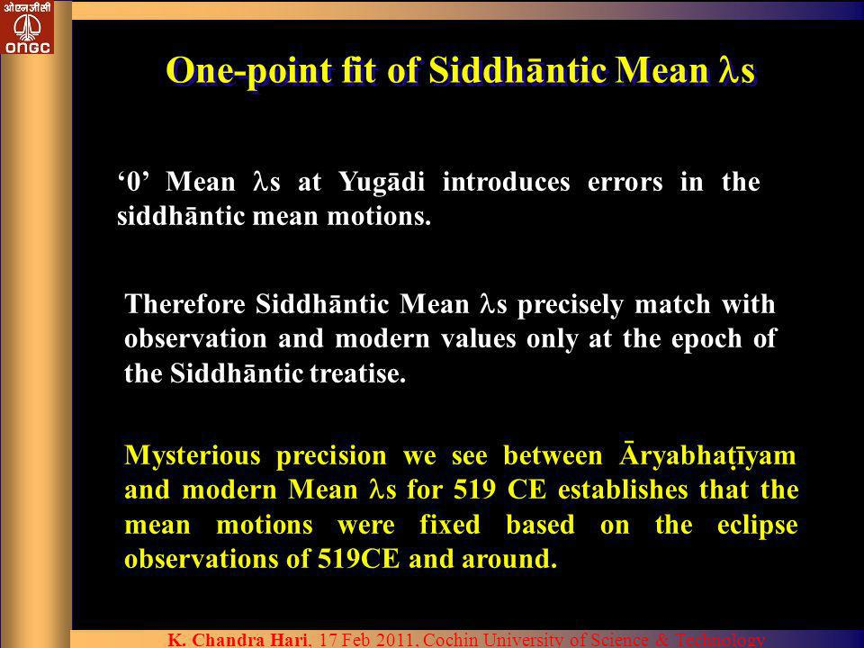 K. Chandra Hari, 17 Feb 2011, Cochin University of Science & Technology One-point fit of Siddhāntic Mean s 0 Mean s at Yugādi introduces errors in the