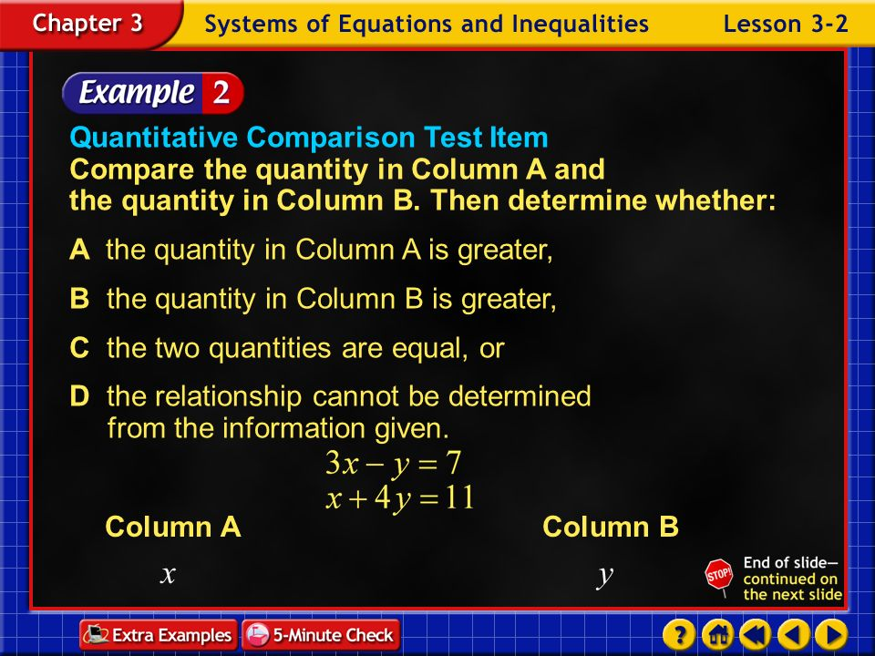Example 2-1b Answer: (5, 1) Use substitution to solve the system of equations.