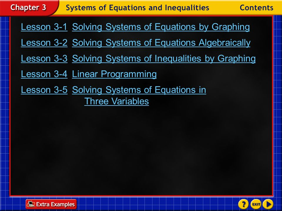 Example 4-3a Step 2 Write a system of inequalities.