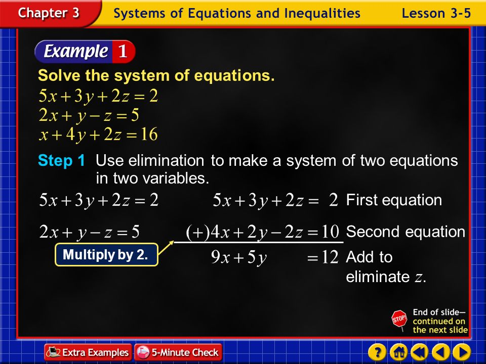 Lesson 5 Contents Example 1One Solution Example 2Infinite Solutions Example 3No Solution Example 4Write and Solve a System of Equations