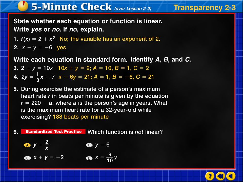 Transparency 3 Click the mouse button or press the Space Bar to display the answers.