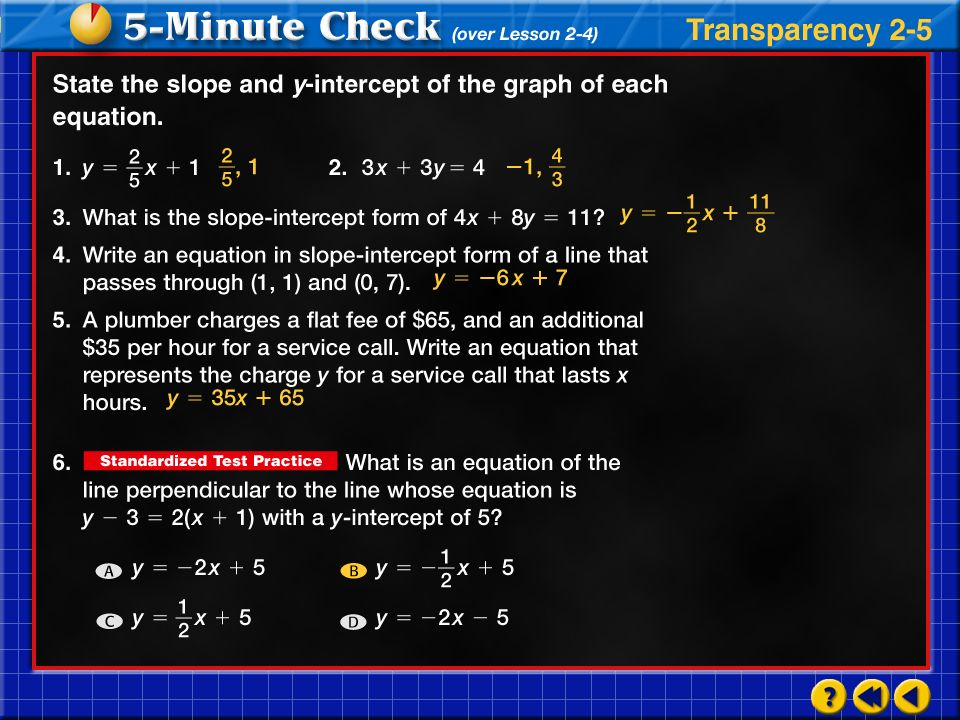 Transparency 5 Click the mouse button or press the Space Bar to display the answers.